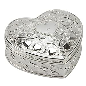 Sophia Silver Plated Heart Shaped Heart Embossed Trinket Box New & Boxed