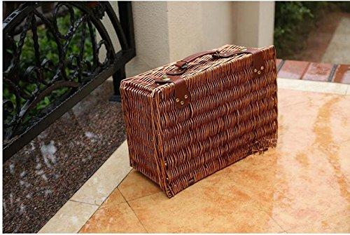 b-Picknick-Korb Im Freien Für 2 Personen Rattan-Picknick-Korb Ohne Deckel-Besteck Weide-Picknick-Korb-Geschenke,Brown (Vintage-dinge, Die Für Die Zimmer)