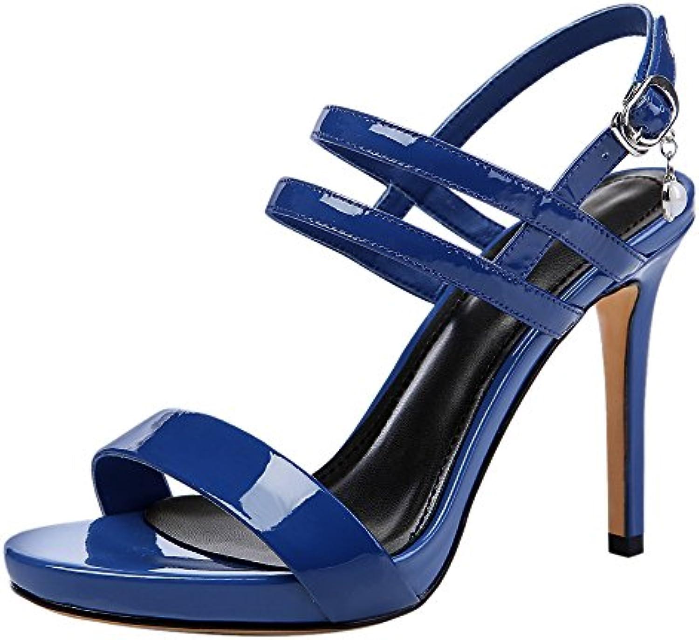 JRFBA-Zapatos de mujer Verano Zapatos de Tacon Alto Fino Impermeable Impermeable con Hebillas, Sexy Black Sandalias... -