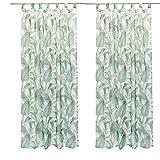 SIDCO ® 2 Stück Dekoschal Jungle Leaves Schlaufenschal Gardine Vorhang Ösenschal Stores
