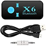 Classico Bluetooth Receiver,Mini Handsfree Car Kit 3.5mm Wireless Audio Adapter For (AUX In) Car/Home Stereo With Mic For ONEPLUS /Samsung/iPhone/ All Smartphones Speaker MP3 Build In Battery,No Cable, A2DP,TF Slot