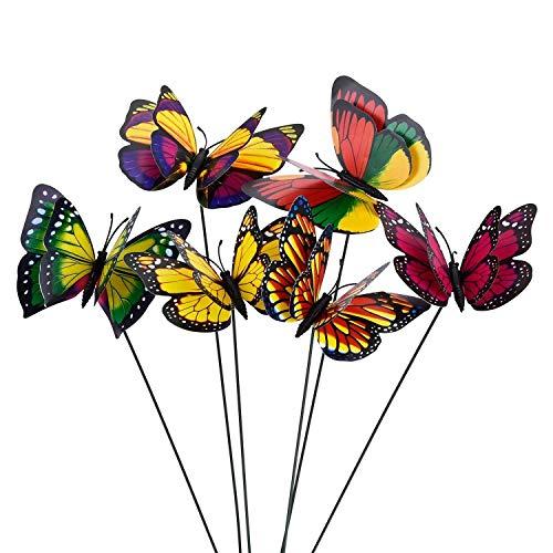 Bobopai 10pcs Colourful Garden Butterflies on Sticks Double Layer Butterfly Wings Dia 7cm -