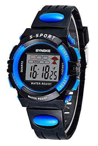 Kinder Sport Armbanduhr Wasserdichte Runde Digitaluhr mit Chronographen Wecker und Licht Funktionen - Schwarz-Blau