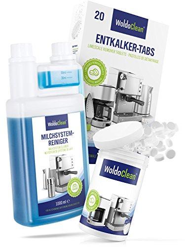WoldoClean Reinigungs-Set I Pflegeset für Kaffeevollautomaten I 20x Entkalker-Tabletten I 150x...
