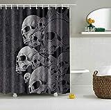 YLXINGMU Duschvorhang der Gewohnheit 3D Ein Bündel Schädel Duschvorhang des Badezimmers Formfest und Waschbar Polyester-Material 120Cm(W) X180Cm(H)