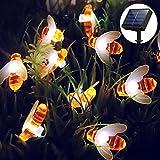 Honeybee Solar Lichterkette, 30 LED wasserdichte Outdoor-Gartenleuchte für Blumen, Bäume, Terrasse, Weihnachtsdekoration (Warm White)