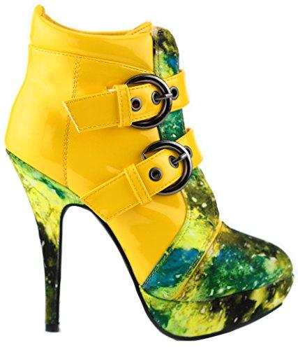 Show Story Gelb Schnalle Nachthimmel High Heel Stiletto Plattform Stiefeletten,LF30301YL39,39,Gelb (Gelb Brautjungfer Schuhe)
