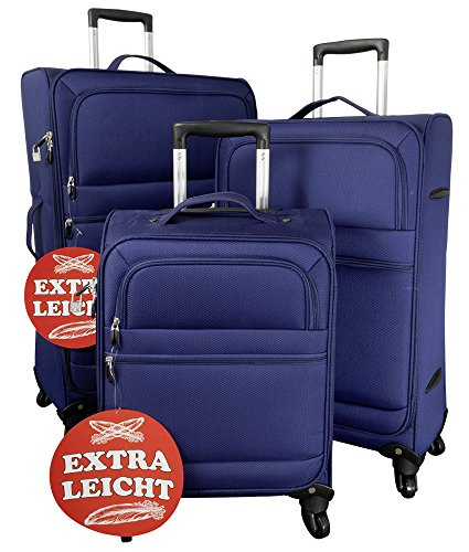 Federleichtes Nylon-Kofferset 3 tlg. Koffer Trolley Reisekoffer blau