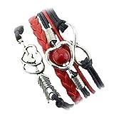 DAY.LIN Armband Damen Armbänder 1PC Unendlichkeits-Liebes-Herz-Perlen-Freundschafts-Antike-Leder-Charme-Armband (G)