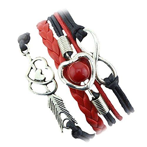 e Herz Perle Freundschaft Antikes Leder Charm Armband Sale Cupid's Arrow Liebesperle Multicolor Lederband Multilayer Armband(Black) ()