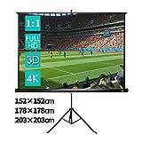 CCLIFE Beamer Leinwand Stativ - Format 1:1, Mobile Beamerleinwand, Geeignet für Heimkino und Business, Volle HD, 3D, 4K-Leinwand einsetzbar, Größenwahl, Größe:152 x 152 cm
