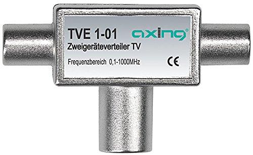 Axing TVE 1-01 Partitore Ripetitore coassiale per 2 TV (1 ingresso femmina, 2 uscite IEC maschio) 0,1-1000 MHz