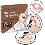 Mirror, Vanity Mirror, Cosmetic Mirror, LED Lighted Travel Makeup Mirror, 1X/3X Magnifying