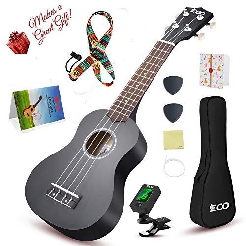 Sopran-Ukulele-Starter-Set, 53,3 cm, mit Gigbag zum Spielen von Songbooks, digitales Tuner Gurt, All in One Kit Color Series Schwarz