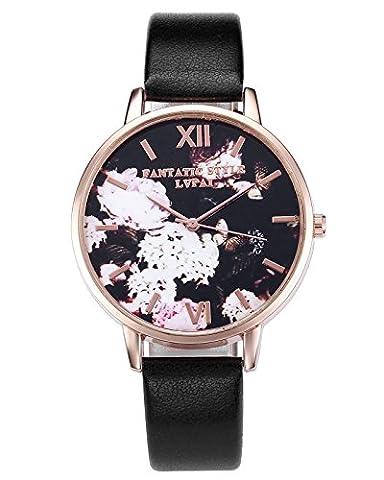 JSDDE Uhren,Retro Blumen und Schmetterling Damen Armbanduhr Basel-Stil Quarzuhr Lederband Rosegold Quarz
