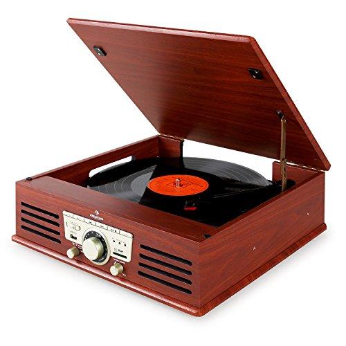 auna TT-92B Plattenspieler Schallplattenspieler (USB-SD-Slot, AUX-IN, UKW Radio, Stereo-Lautsprecher, Holzfurnier) braun - 9
