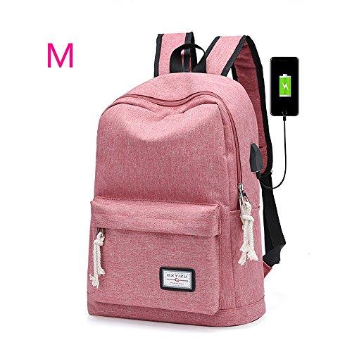 ZZW Reise- und Freizeitrucksack, wasserdichter Segeltuch-ultraleichter Rucksack großer Kapazität Laptop mit USB-Ladeanschluss Rucksack Jugend Reiten Lernen Sport Schultasche (Color : Pink, Size : M)