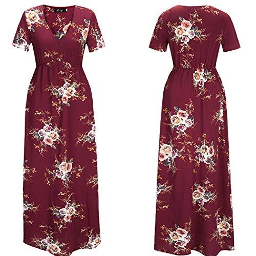 ECOWISH - Combinaison - Robe longue - Manches Courtes - Femme rouge vin