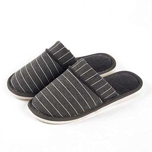 Chaussons DWW Pantoufles de Coton Rayures Pour Hommes Slip Intérieur Étanche Chaussures Chaudes Gris