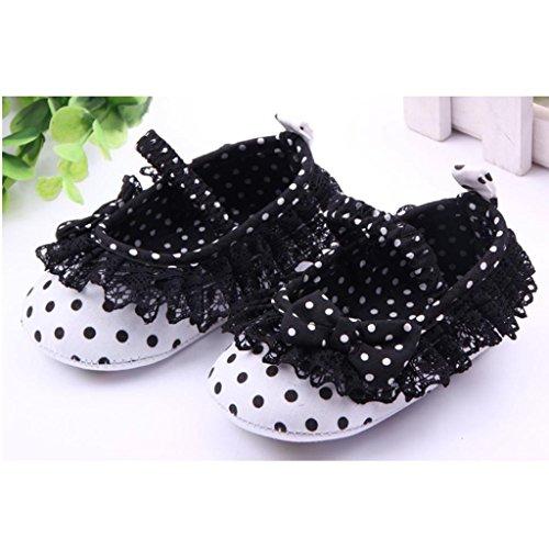 Saingace Bébé Infant Enfants Filles Dot Dentelle Arc Chaussures à Semelle Souple (11(11cm), Rose) Noir