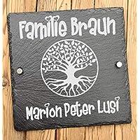 Haustürschild aus Schiefer mit Gravur - Hausschild mit Lebensbaum und Familienname - Türschilder personalisiert