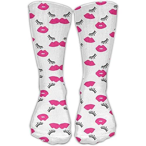 Sheer Lip Liner (Personalisierte kühle Winter warme Strümpfe Crew Pink Lips und Wimpern Neuheit Damen Fitness Kniehohe Socke)