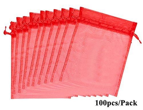 ALPHA DIMA 100 Stück 10cm x15cm Organzabeutel Schmuckbeutel Organzasäckchen Geschenk Organza Hochzeit Säckchen Fest Party Beutel(Rot) Zeitgenössische 10