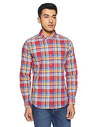 United Colors of Benetton Men's Checkered Slim Fit Casual Shirt (18P5JU81U008I_Red_M)