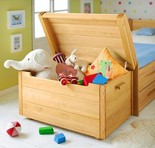 Massivholz Spielzeugkiste Truhe (BioKinder Holztruhe Holzkiste Spielzeugtruhe Spielzeugkiste mit Deckel Julian aus Massivholz Erle 87 x 53 x 53 cm)