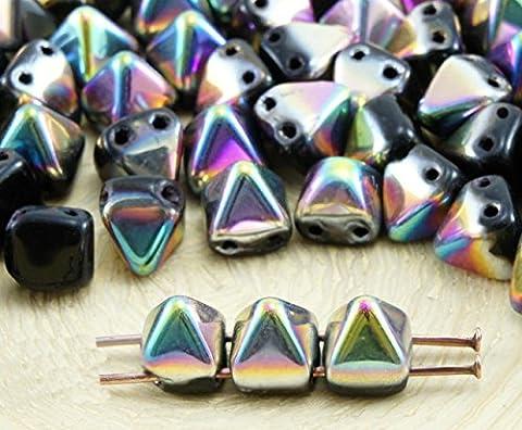 16pcs Opaque Jet Black Metallic Dichroic Vitrail Half Small Pyramid Stud 2 Two Hole Czech Glass Beads