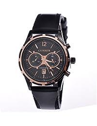 Hombre reloj cronógrafo FECHA Curren correa de silicona Colour negro oro rosa