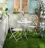 3 tlg, Bistro Set 'White Romance' aus Metall, Sitzgruppe, Gartentisch, Gartenstuhl