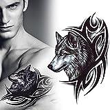 GREEN HOME 1 1 STÜCK Temporäre Tattoos Wasserdichte Aufkleber Wolf Kreative Körperkunst Wolf Kopf Wölfe Arm Tattoo Aufkleber Herrschsucht Tattoo Geschwindigkeit Langlebige Tattoo 4,8 * 7,5 zoll (schwarz)