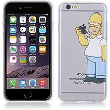 Fundas para iPhone 7 4.7'' Simpson Homer Comer Manzana Carcasa Case Gel Transparente con diseño personalizado, Cover Silicona TPU iPhone 7 4.7'' con Figura dibujos animados de Alta Resistencia y Flexibilidad kaser
