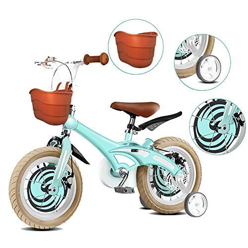 YUMEIGE Kinderfahrräder Kinderfahrräder, Kinderfahrrad aus Magnesiumlegierung mit Stützrad 12/14/16/18 / 20 Zoll Geeignet für 3-8 Kinder Jahre altes Geschenk (Color : Green, Size : 16in)