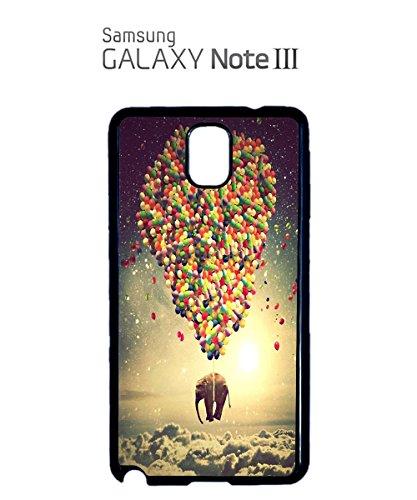 Balloon Elephant Sky Animal Mobile Phone Case Back Cover Hülle Weiß Schwarz for Samsung Galaxy S4 Black Schwarz