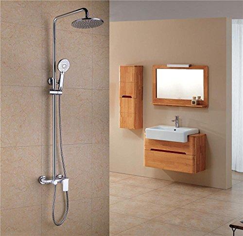 NIHE Salle de bain de haute qualité Doublé en marbré blanc Douchette de douche et douchette Système de douche froide et chaude , A - Garantie de 5 ans