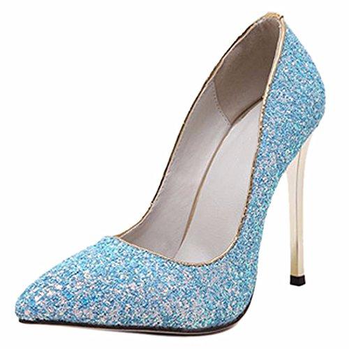 QIYUN.Z Femmes Paillettes Bout Pointu Talon Aiguille Appartements Peu Profonds Chaussures De Mariage Brillant Bleu