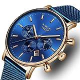 Reloj de Hombre La Moda Impermeable Reloj de Acero Inoxidable Ocio Los Deportes Relojes de Cuarzo analógicos Marca Hombre LIGE Multifuncional Militar Hueco Azul Fecha Calendario Reloj