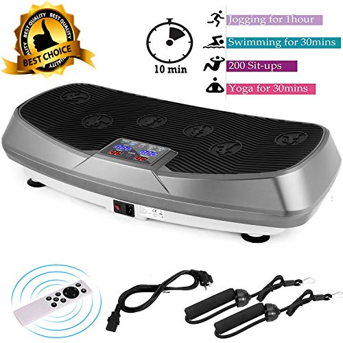 Oliote Vibrationsplatte 3D Vibrationstrainer Oszillierend Vibrationsgeräte Fitness mit Dual-Motoren, Curved Design, Color Touch Display, inkl. Trainingsbänder, Fernbedienung grau