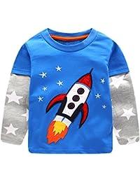 CHIC-CHIC T-shirt Pulls Haut Pull-over Top Spot Sweatshirt Bébé Garçon Fille Rayure Casual Mignon Cartoon Imprimée Avion