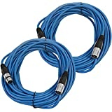 Seismic Audio Pair Of Blue 50' XLR Male To Female Microphone Patch Cables(2 Pk) Blue - SAXLX-50Blue-2Pack