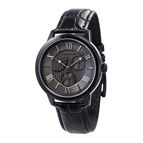 Thomas Earnshaw Cornwell ES-8060-06 Montre à quartz à affichage rétrograde et trotteuse centrale pour homme Avec cadran gris, affichage analogique classique et bracelet en cuir noir
