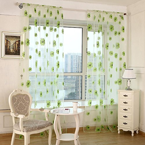 Amlu girasole porta finestra tenda chiffon di girasole, porta finestra tenda drappo pannello sciarpa assortiti sciarpa, green, 1000.00 * 2000.00 * 10.00mm