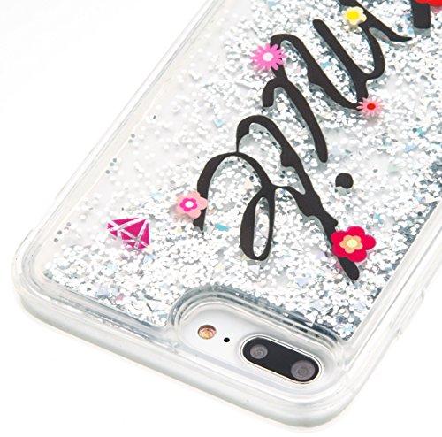 Für iphone 7 Plus Hülle,SKYXD Glitzer Flüssig Wasser Kreativ Design Weiche Silikon Gel Gummi [Nicht Hard Case] Brillianter Leichtes Glatt Schutzhülle mit [Handyanhänger + Eingabestifte] Handy Tasche H Color-13