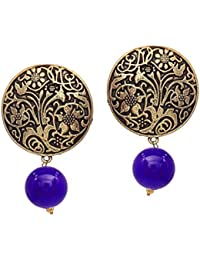 Jaipur Special Blue Gold Plated Stud With Beads Stud Earrings For Women