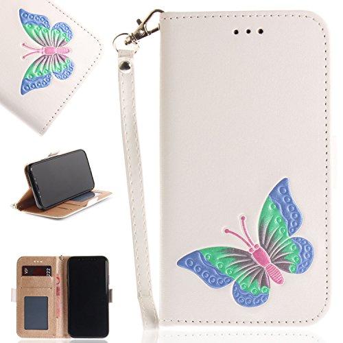 Ooboom® iPhone X Hülle Schmetterling Muster Flip Folio PU Leder Schutzhülle Handy Tasche Case Cover Wallet Ständer Kartensteckplätzen Trageschlaufe - Weiß