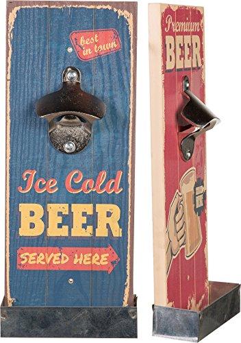 Flaschenöffner Vintage auf Holz für Wand Ice Cold Beer BLAU