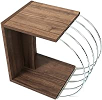 HomeCanvas Case End Table Living Room Made In Turkey Side Table (Walnut-Chrome, Side Table)