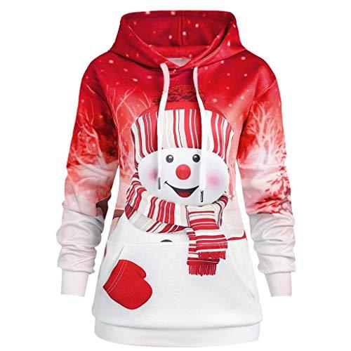 INLLADDY Damen 3D Druck Sweatshirts Weihnachten Pullover mit Cartoon Aufdruck Kapuzenjacke Langarm Top Hoodie Rot L